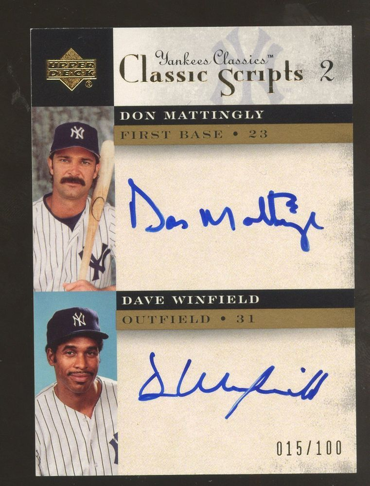 2014 Yankees Classics Don Mattingly Dave Winfield Dual Scripts Auto