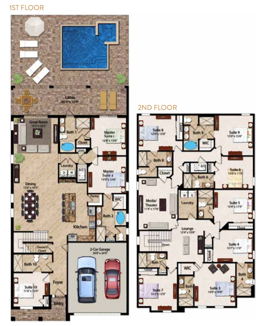 The Encore Club 2 In The Encore Club Orlando At Top Villas From Only 495 Per Night House Layout Plans 10 Bedroom House House Layouts