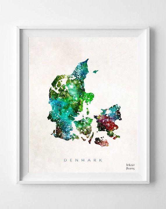 Denmark Map Print, Copenhagen Art, Denmark Poster, Copenhagen Map - new world map denmark copenhagen