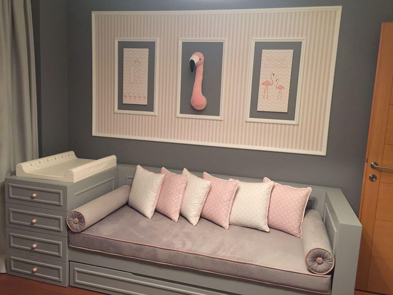 Grey And Pink Nursery Daybed. #daybed #nursery #babyroom
