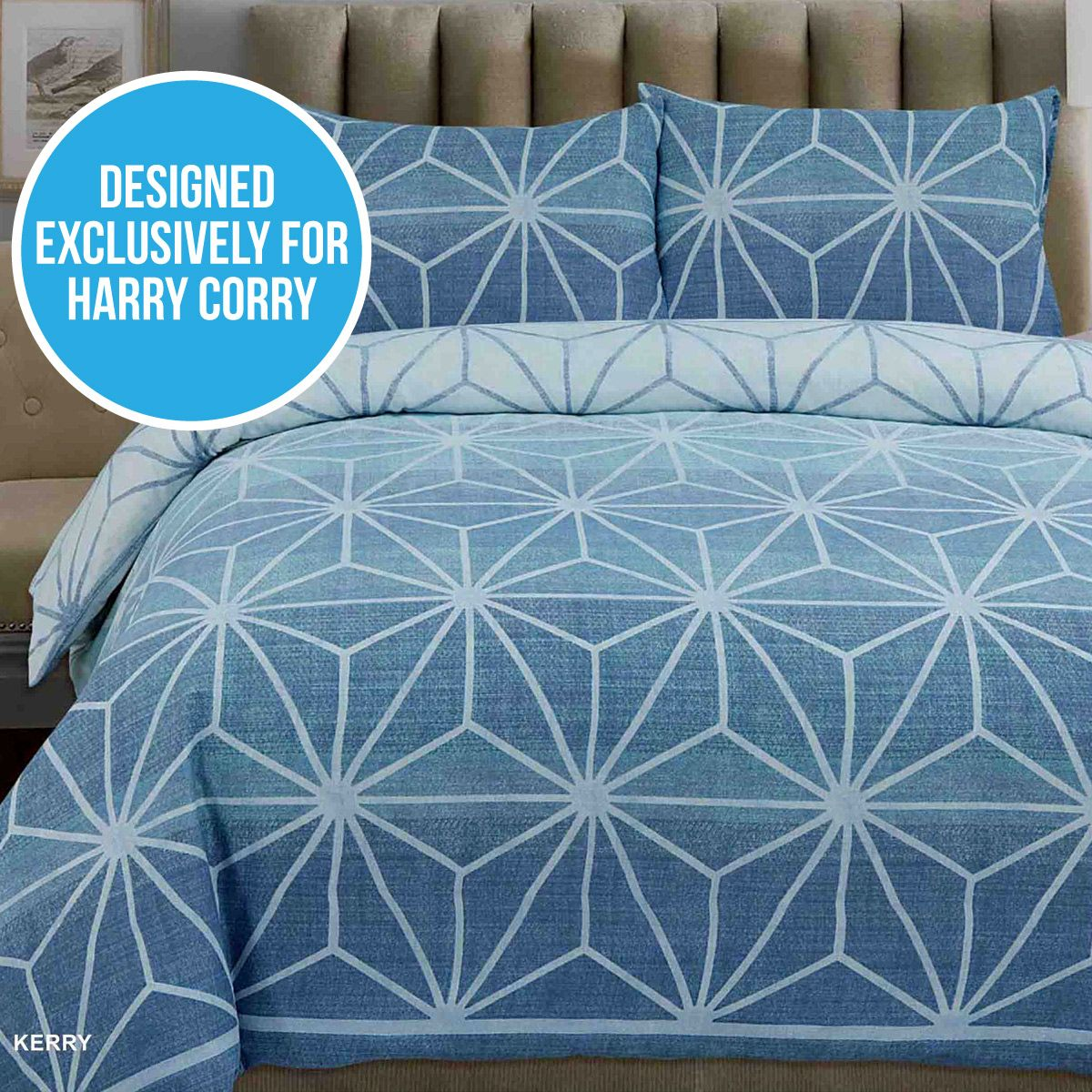 Windsor teal eyelet curtains harry corry limited - Get Your Shape On With This Harry Corry Exclusive The Kerry Blue Cotton Rich Duvet Set Features A White Contemporary Geometric Pattern On A Denim Effect