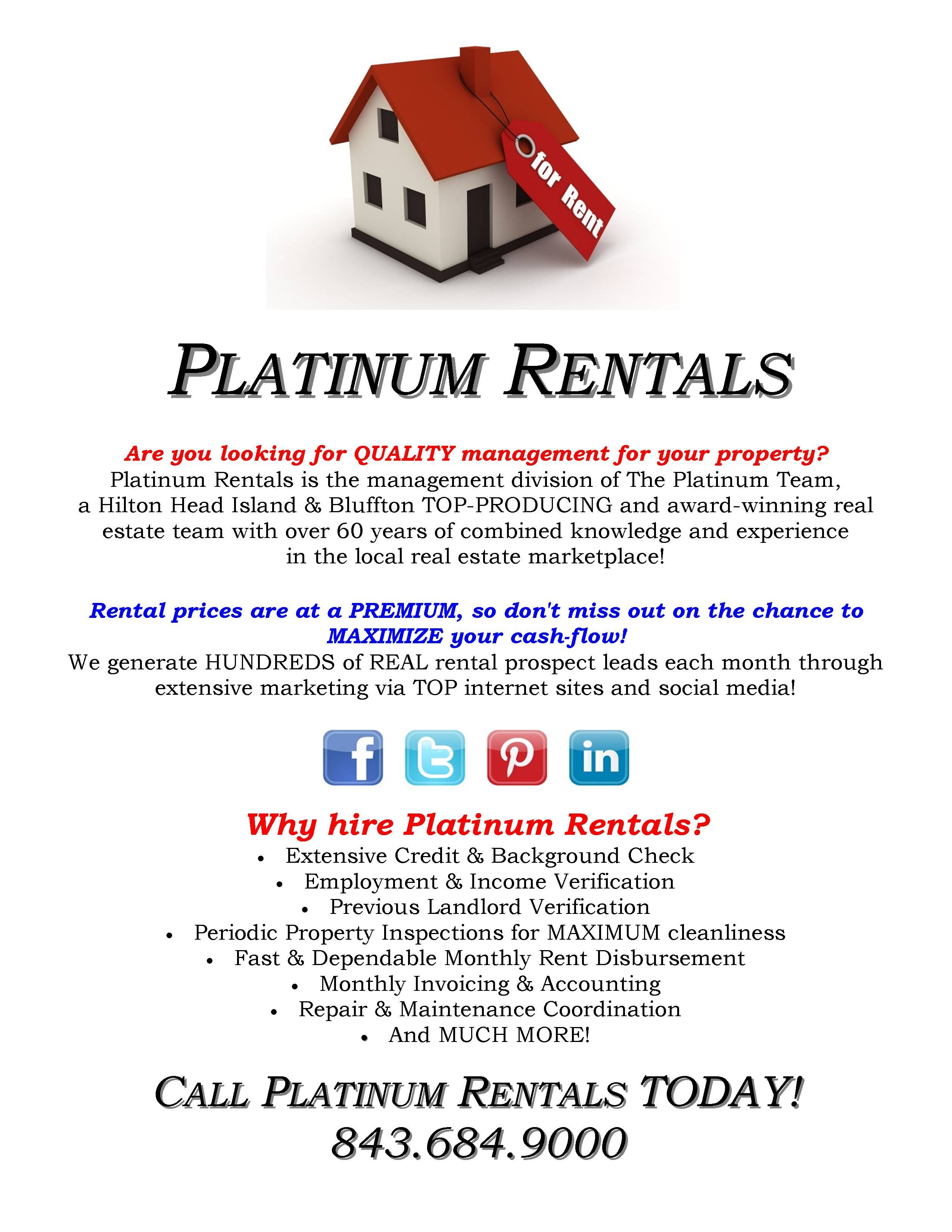 Platinum Rentals, Hilton Head Island & Bluffton's Choice For Rental  Management And Tenant Placement.