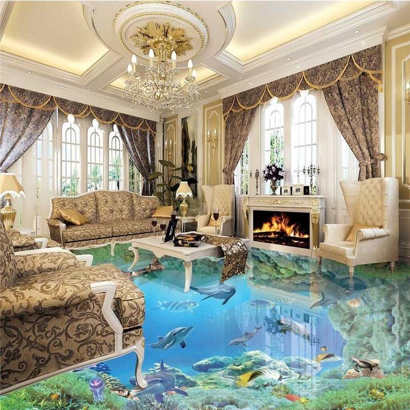 Beibehang Floor Wallpaper 10 Meters High Definition Underwater World 3d Floor Vinyl Floor Waterproof Self Adhesive Floor Wallpaper Epoxy Floor 3d Flooring