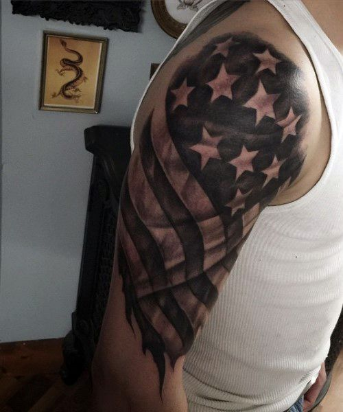 American Flag Arm Tattoos For Males In Black Ink