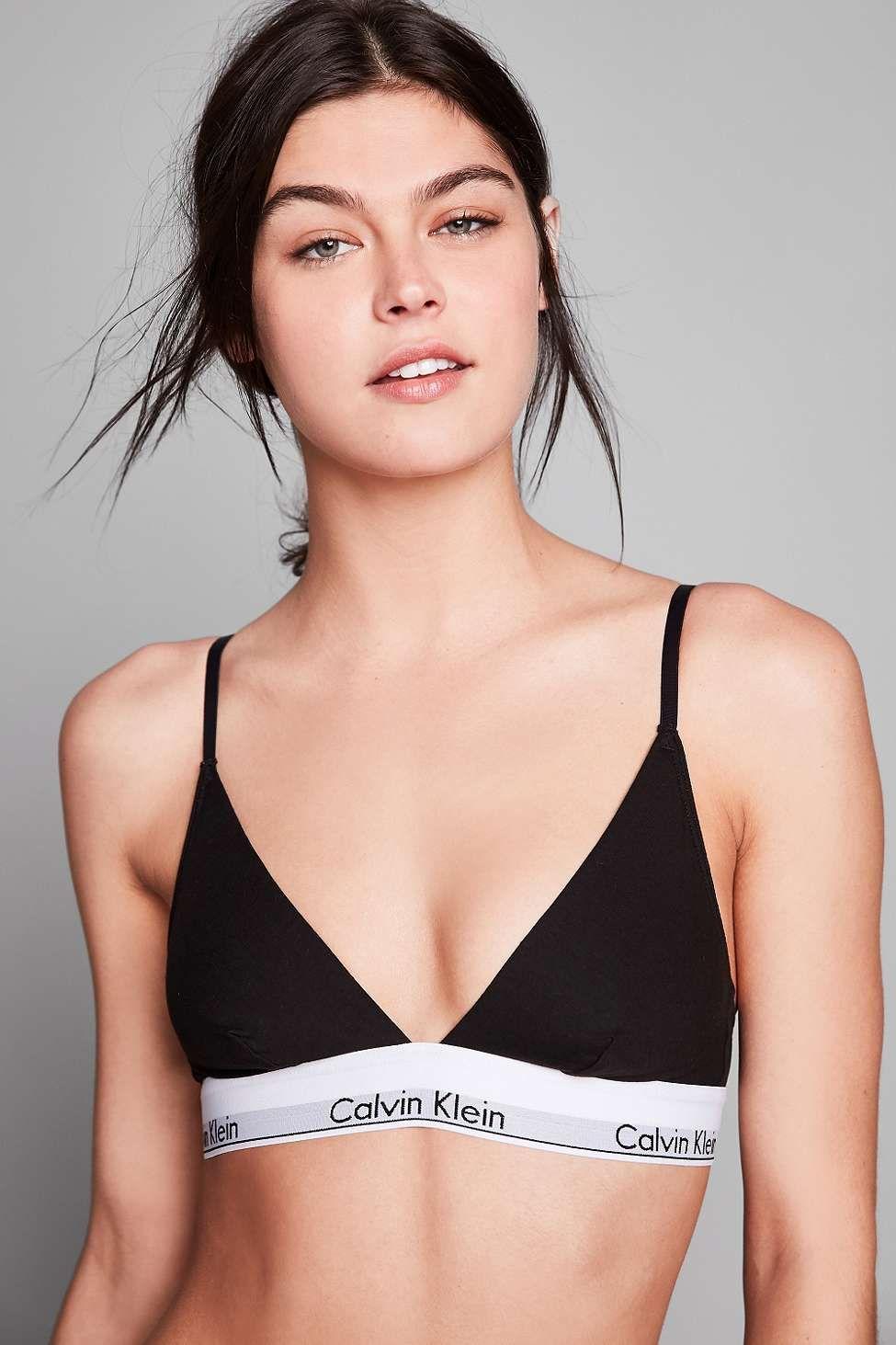 huge selection of 00c88 5d03d Calvin Klein – Moderner Triangel-BH aus Baumwolle in Schwarz ...