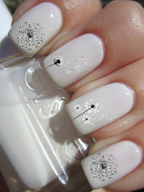 Рисунок одуванчика на ногтях