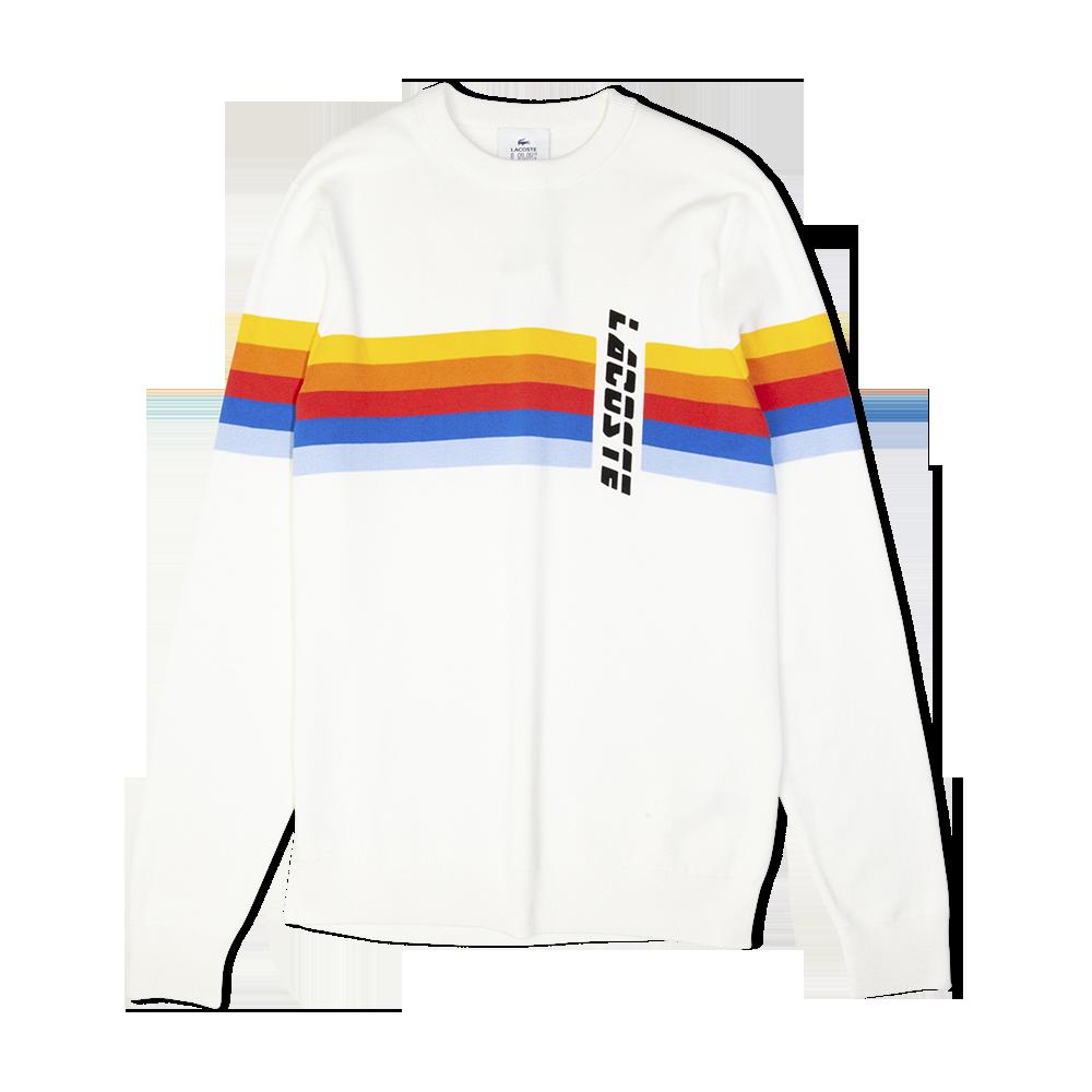 d3d1bac9e859 Lacoste LIVE Crew Neck Rainbow Striped Sweat Off White Free SHIPPING OVER  £50.00 #grants1856 #grants #1856