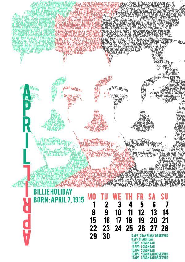 Music Artists 2013 Calendar On Behance Calendar Design Calendar