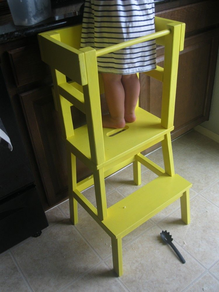 kitchen step red decor for diy learning tower with ikea bekvam stool how to make a using products from toddler