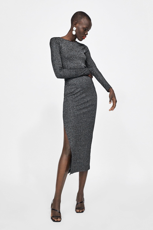 Image 1 Of Long Shiny Dress From Zara Shiny Dresses Sweater Dress Womens Dresses