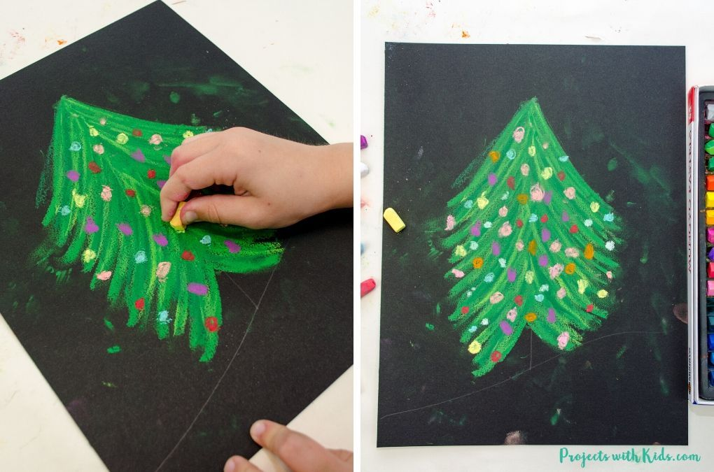 How to Draw a Beautiful Chalk Pastel Christmas Tree | Christmas art projects, Christmas art ...