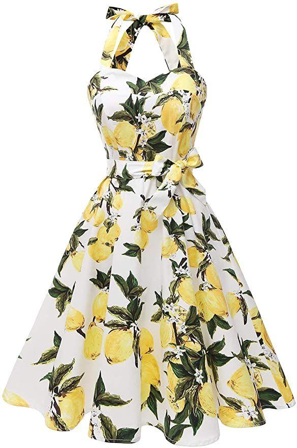 Topdress Vestido de cóctel retro con cuello halter de los años 50 para mujer  – Moda