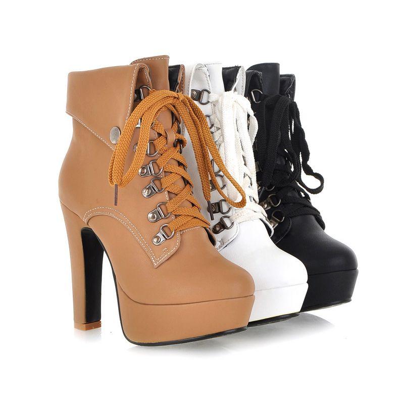 Plus Size 31 43 nova chegada mulheres inverno botas Sexy de salto alto  grosso botas sapatos