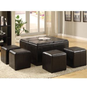 Cocktail Ottoman With 4 Cubes