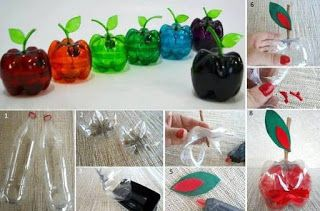 Apfel Aus Pet Flasche Idee Diy Plastic Bottle Plastic Bottle