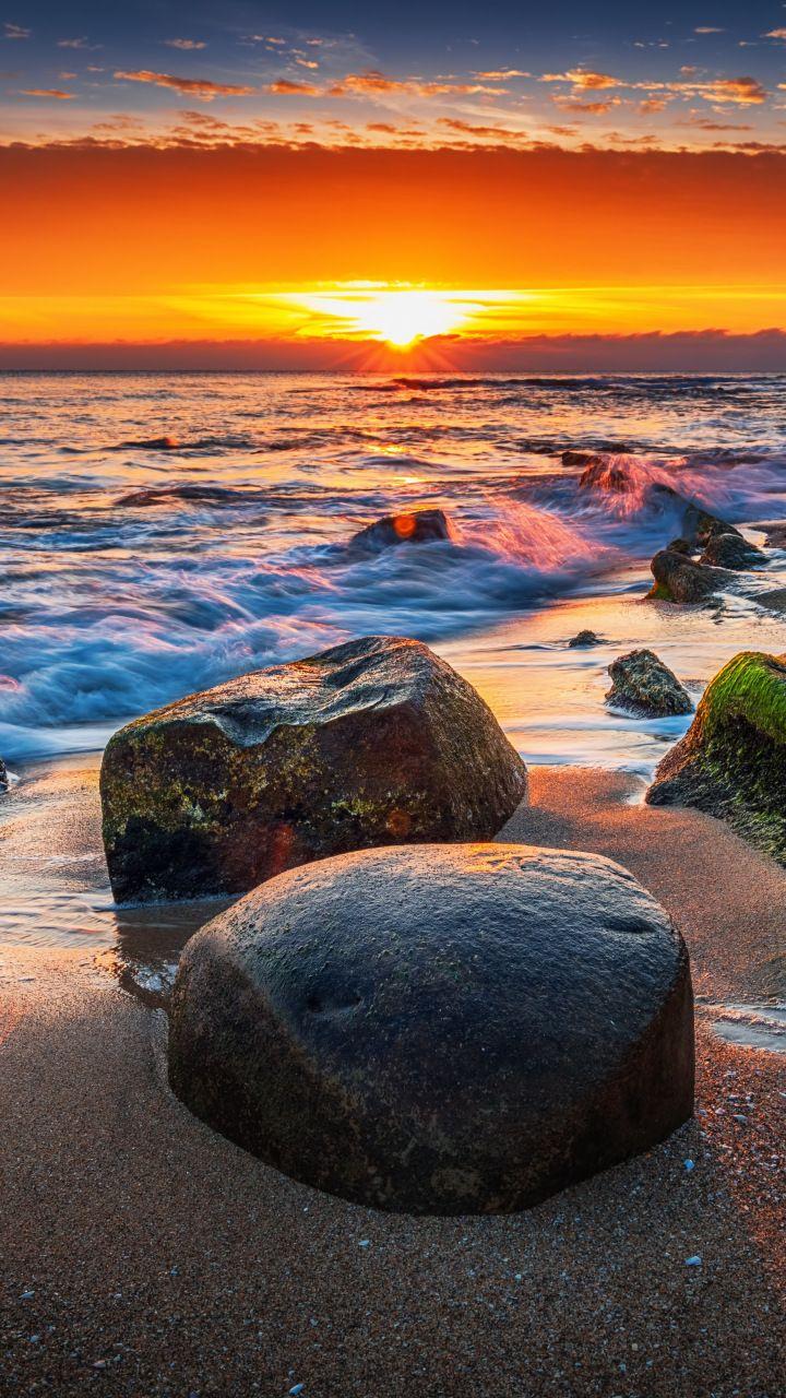 Coast Rocks Sunset Sea Sea Waves 720x1280 Wallpaper Sunset Sea Sea Waves Sunset