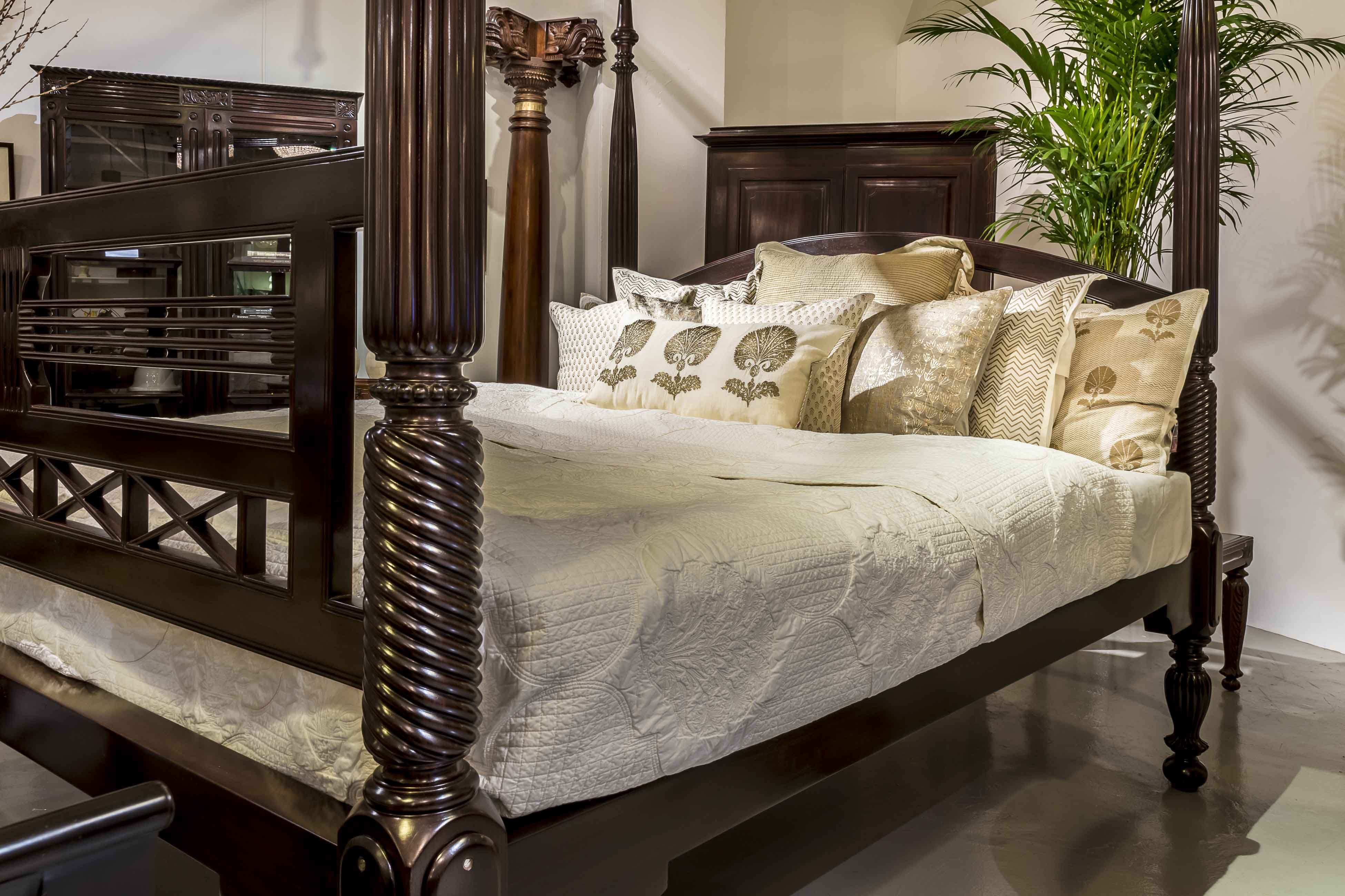 A British Colonial rosewood four-poster bed. Notice the beautifully ...