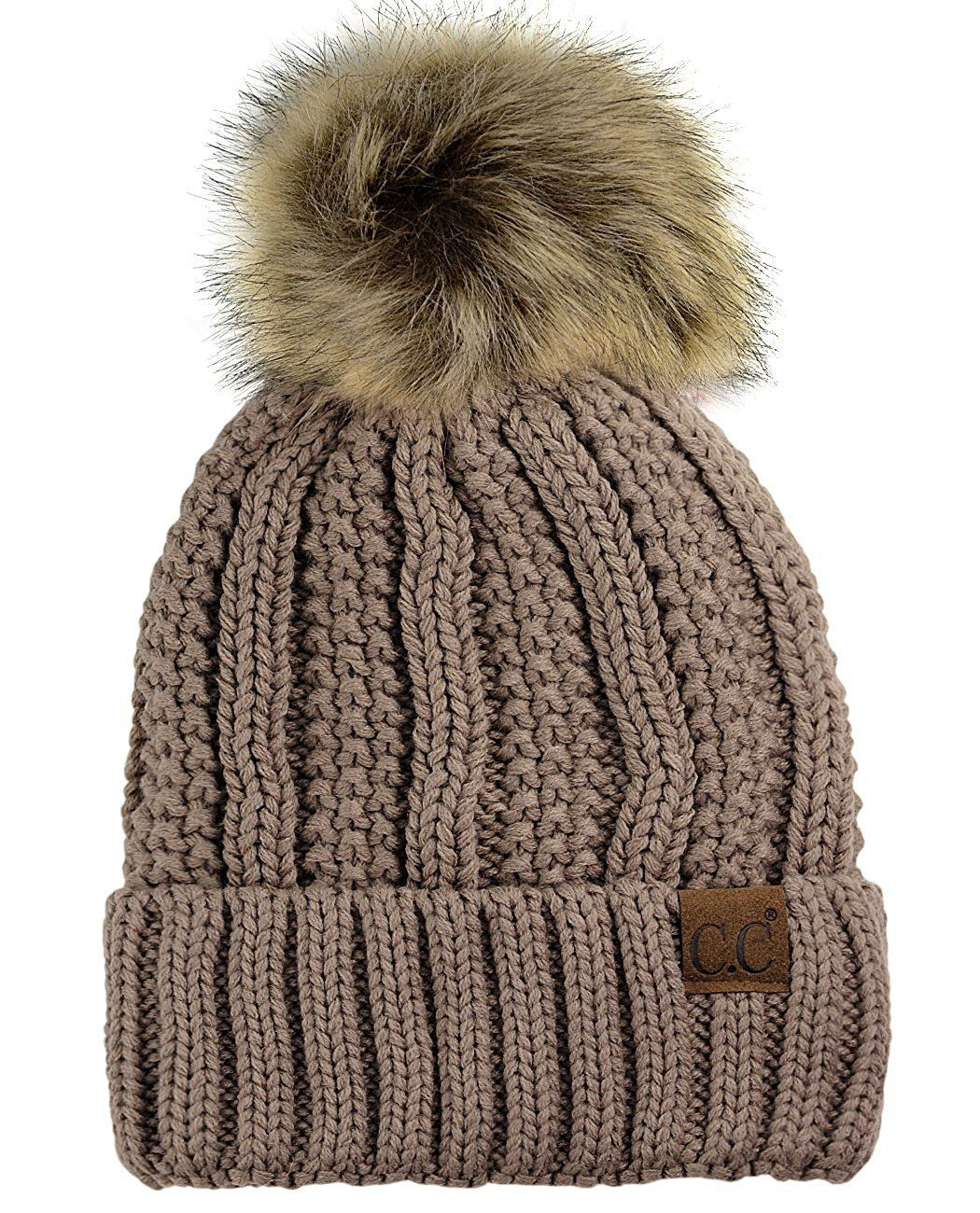 45edbe4cefe C.C Thick Cable Knit Faux Fuzzy Fur Pom Fleece Lined Skull Cap Cuff Beanie