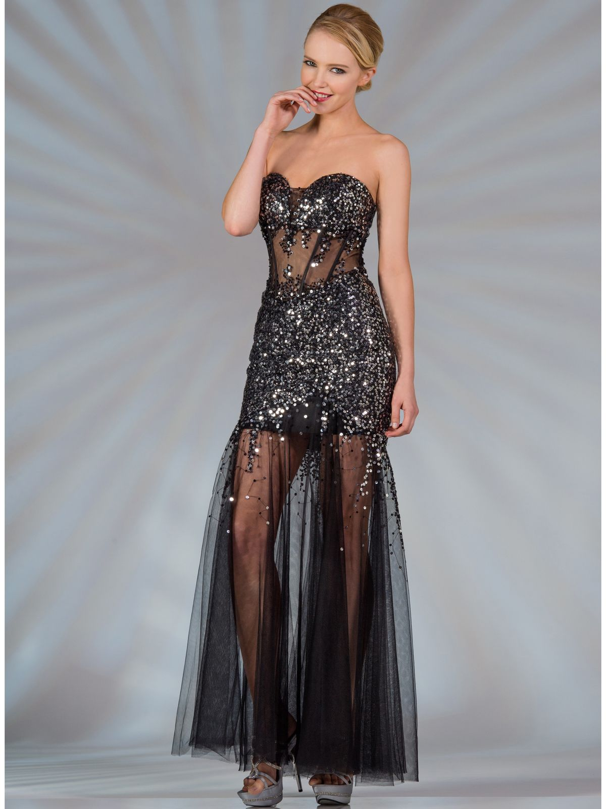 Sheer Sequined Corset Dress. Style