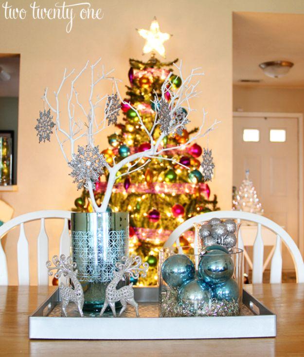 34 Creative Christmas Centerpieces Blue CenterpiecesSilver