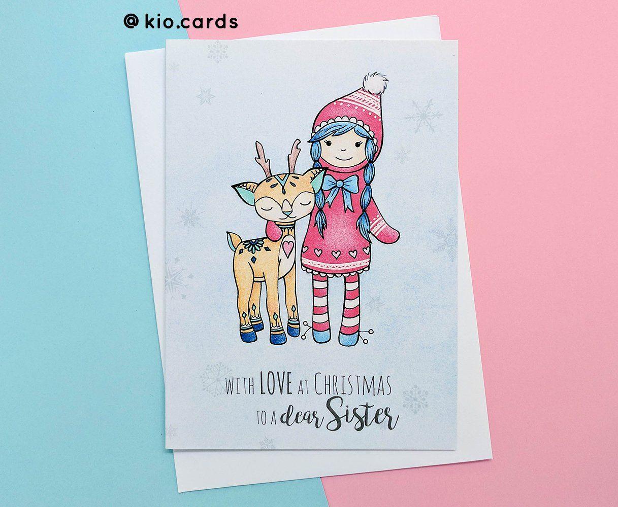 Dear Sister Christmas Card Sister Xmas Card Cute Deer Unique