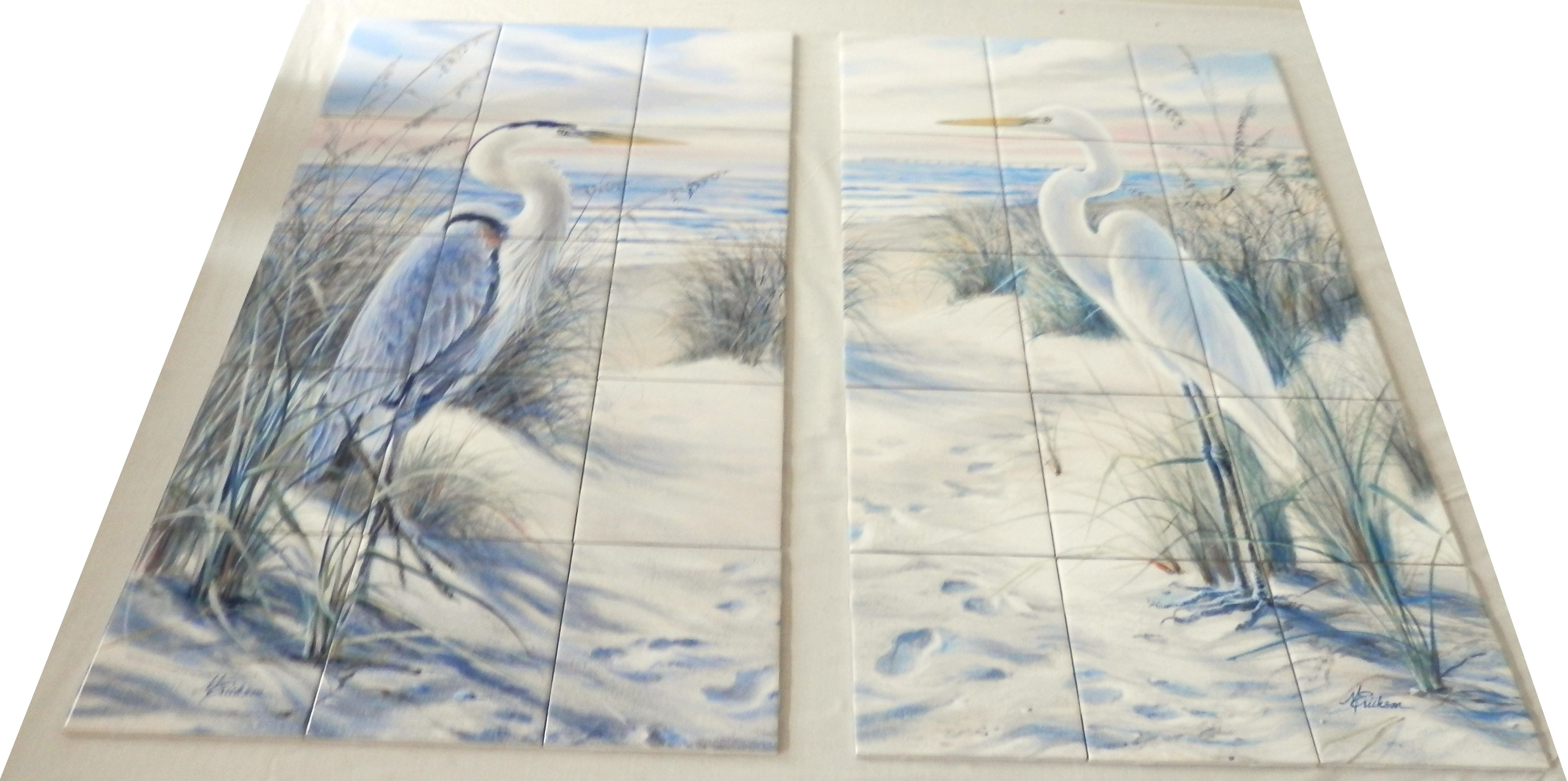 Egret Beach & Heron Tile Mural Images of waterfowl on tiles are ...