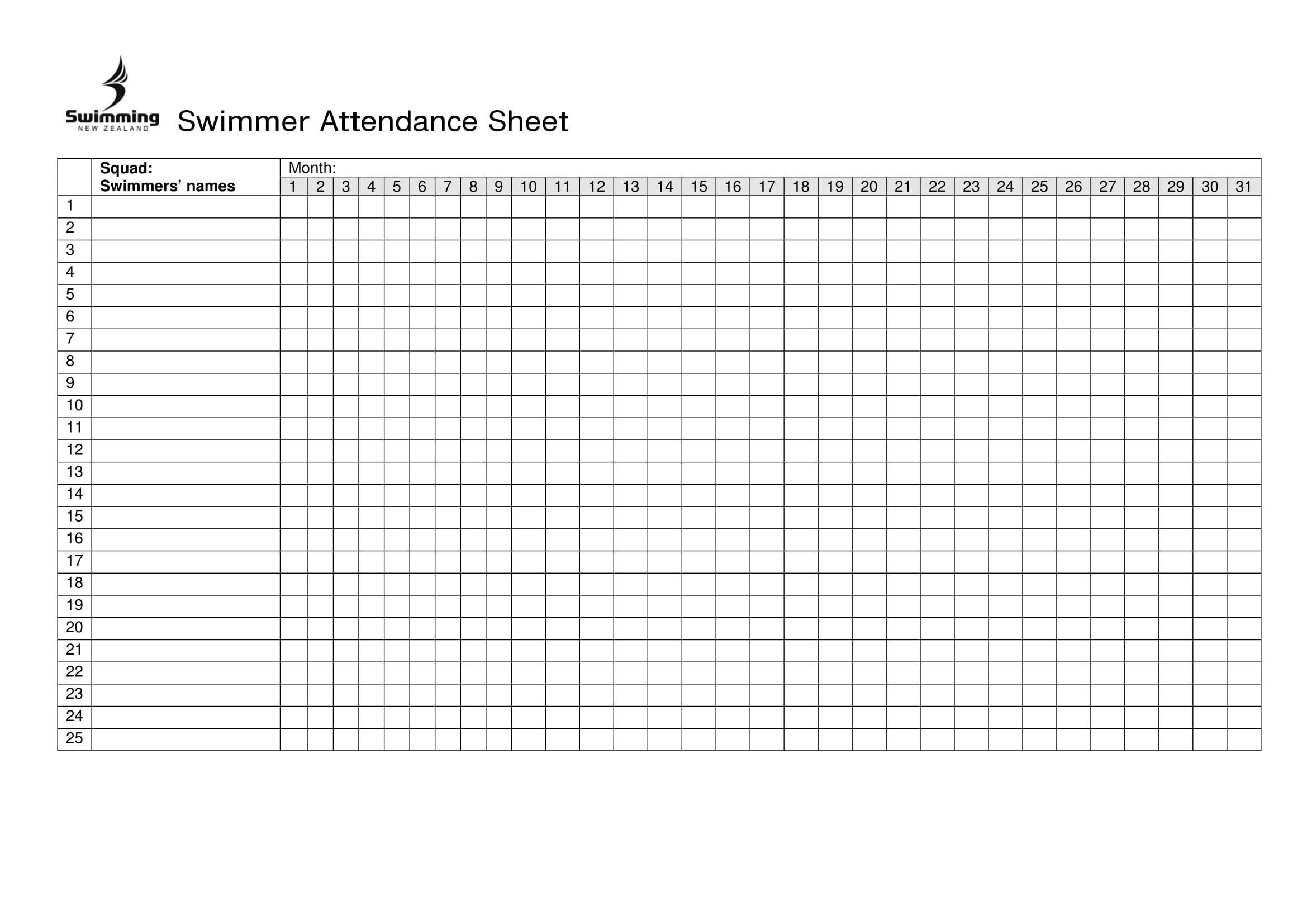 Swimmer Attendance Sheet Excel Attendance Sheet Attendance Chart Attendance Sheet Template