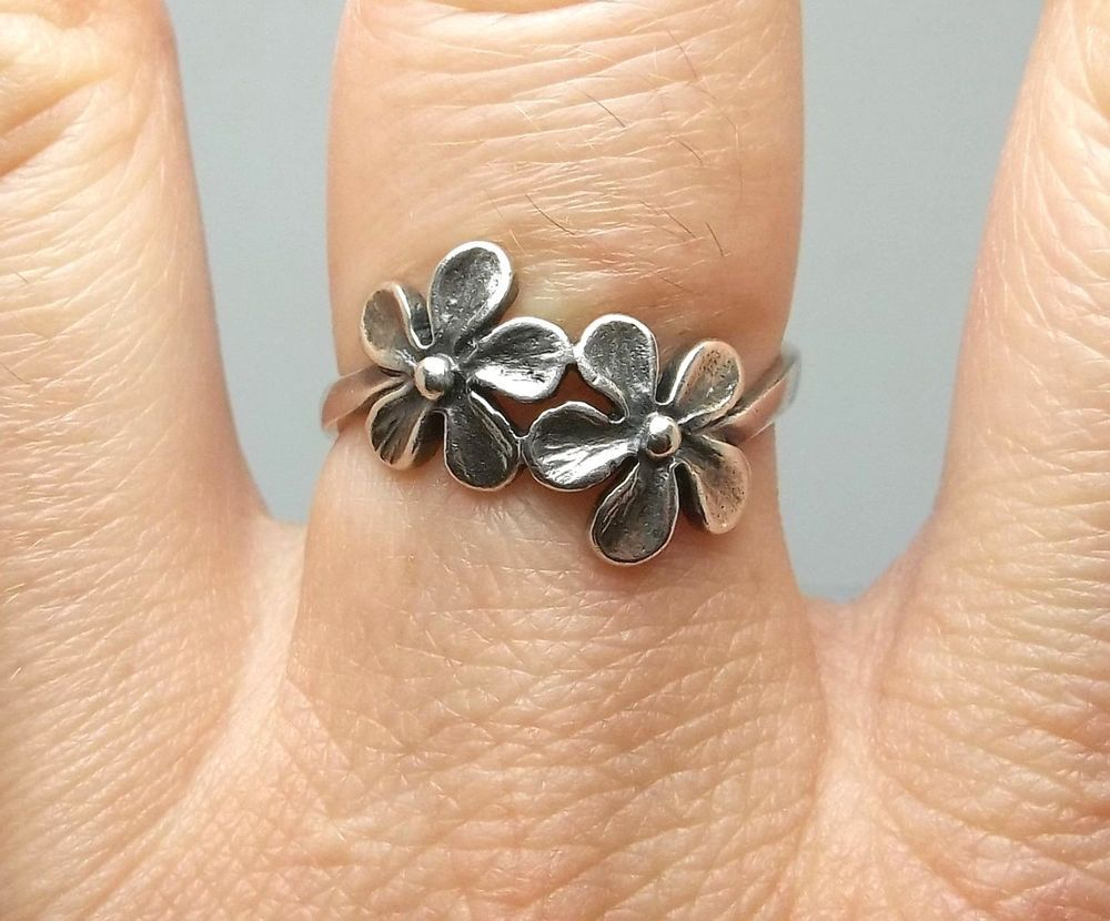 Rare! James Avery Retired Sterling Silver 2 Flower Ladies