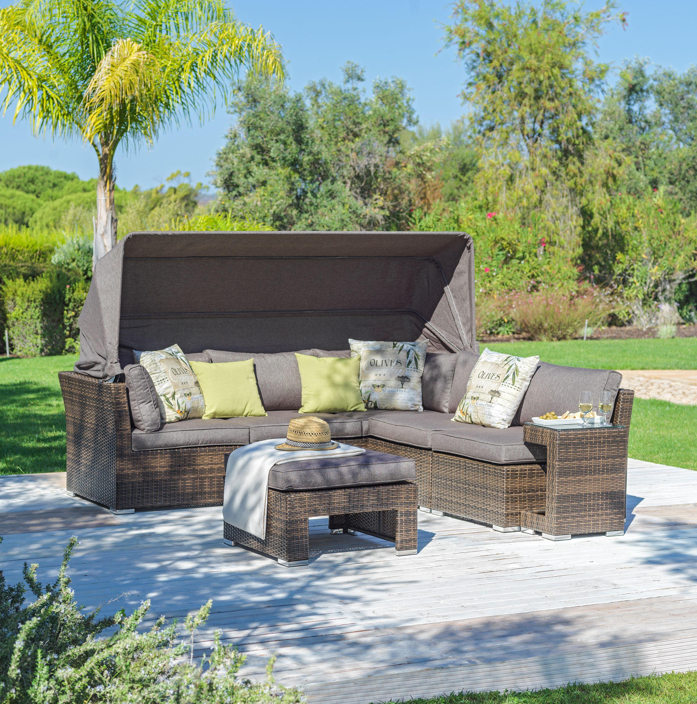 Rattan Gartenlounge Mit Integriertem Sonnendach Gartenmobel