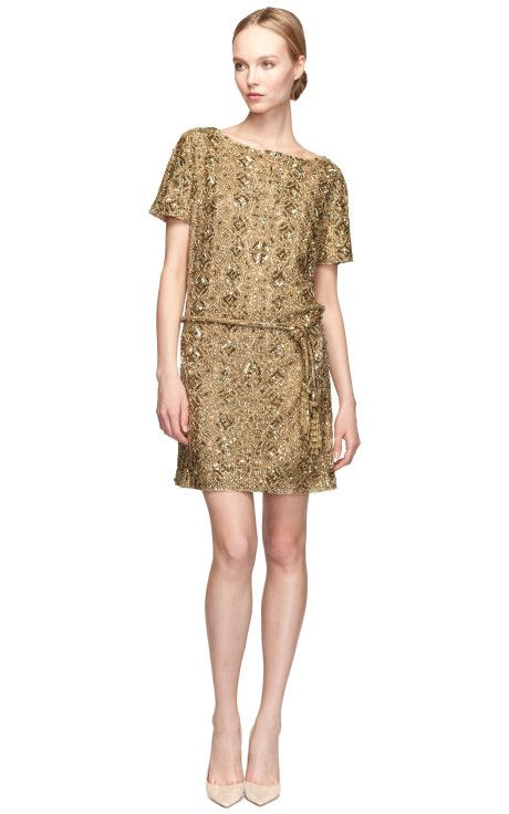 Embroidered Gold Tunic With Self-Belt by Marchesa Now Available on Moda Operandi