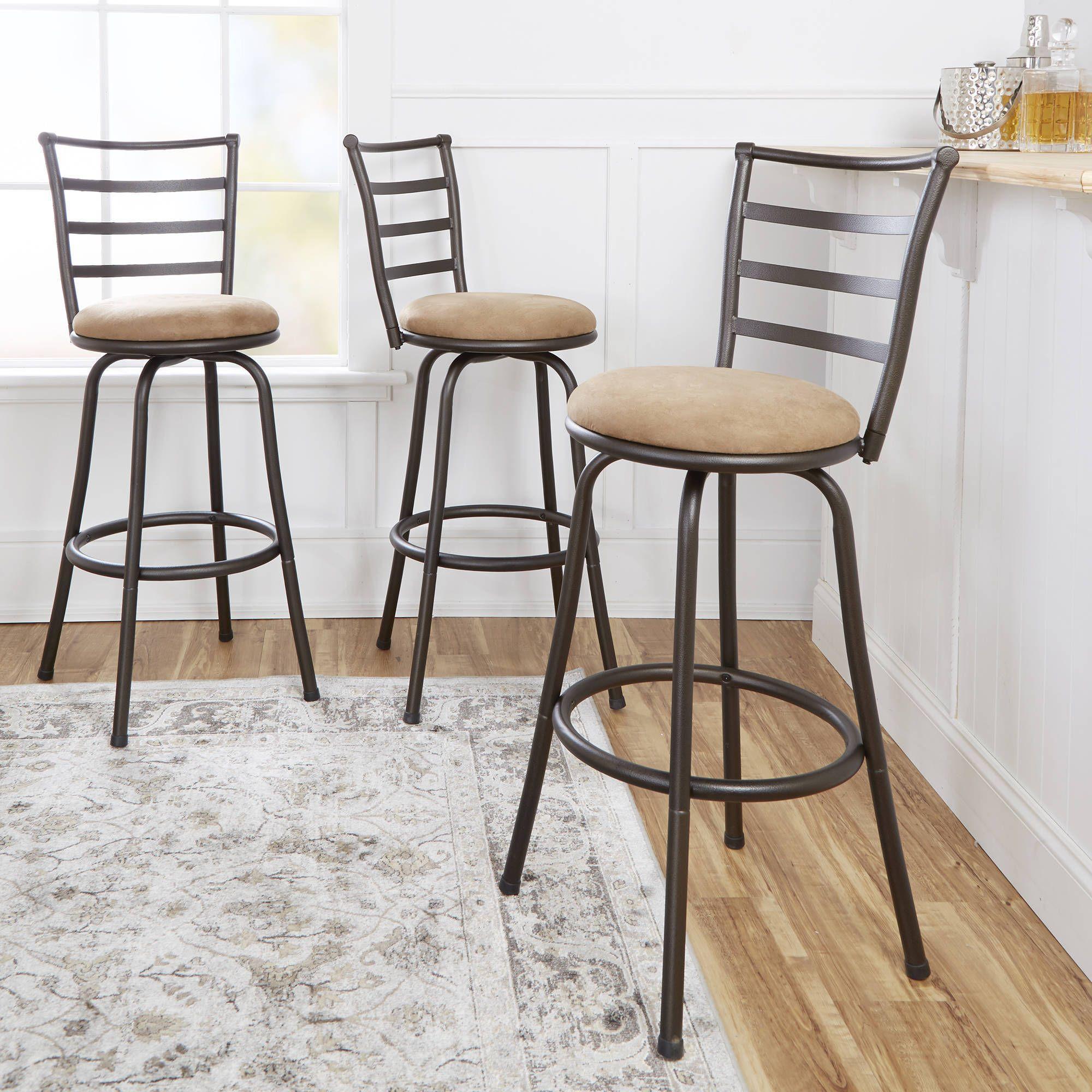 Tremendous Set Of 3 Mainstays Adjustable Height Swivel Barstool Only Ibusinesslaw Wood Chair Design Ideas Ibusinesslaworg