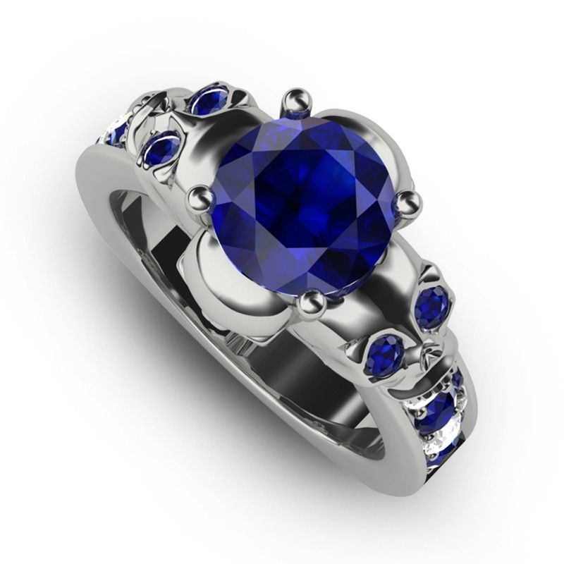Sterling Silver Skull Ring for Women with Blue Sapphire and White