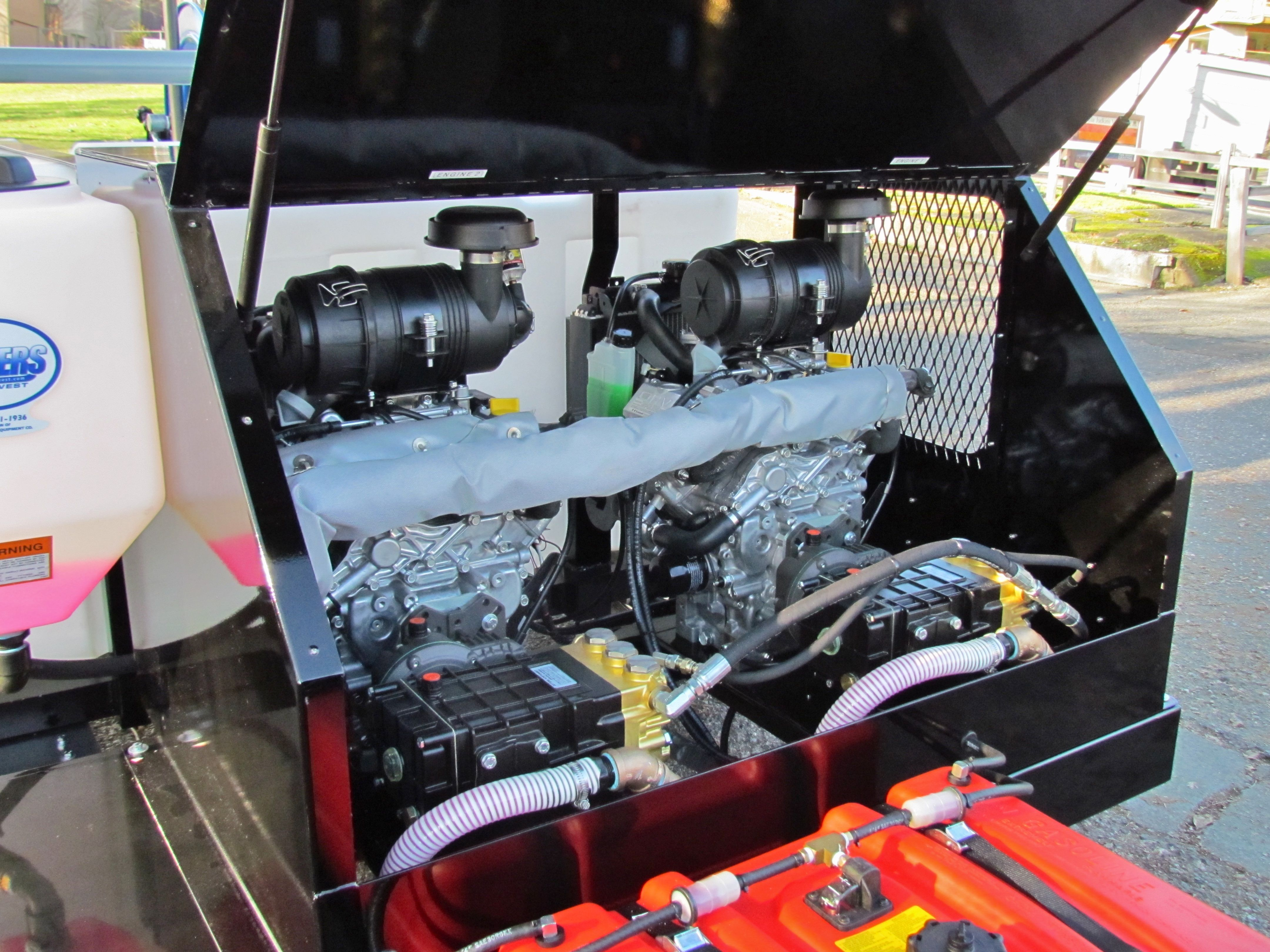 Eagle series trailer jetter engine and pump compartment