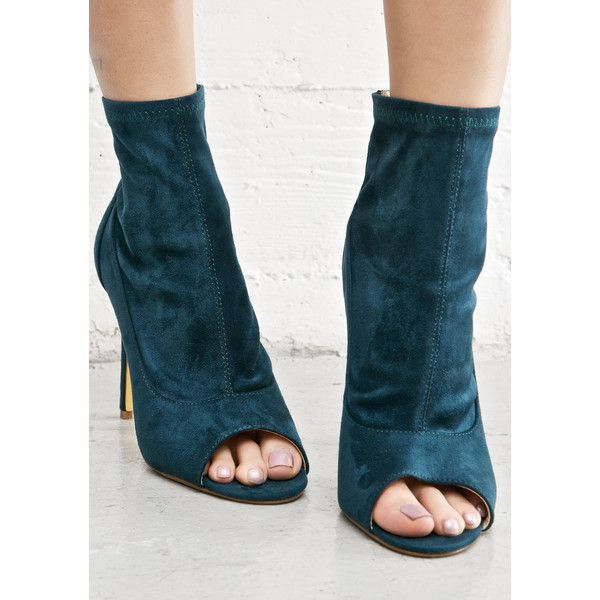Greedy Peep-Toe Bootie cuz ya want it all, and ya won't stop 'til yer at the top~ These hott as hell booties feature a sleek peacock green vegan suede construc…