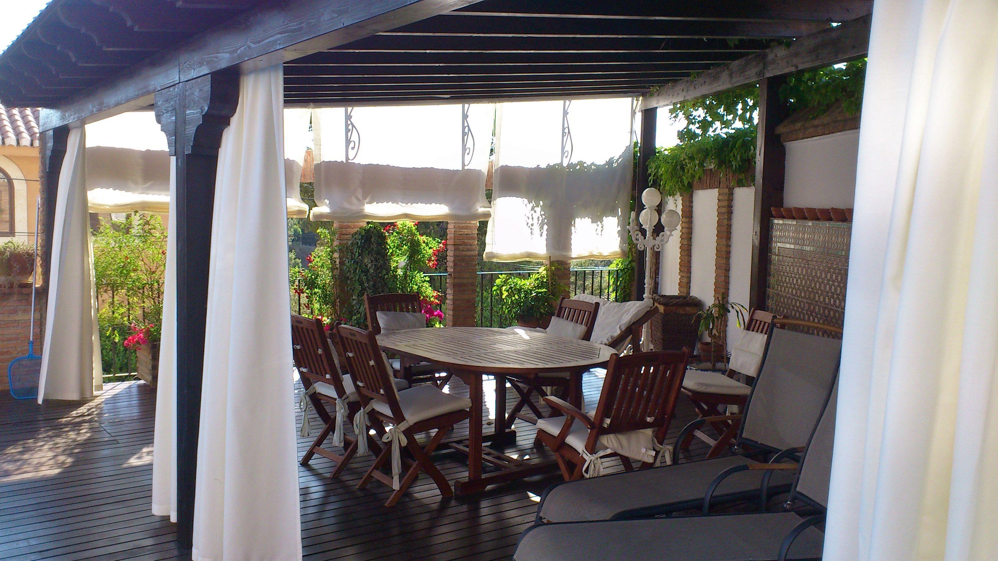 cortinas y estores para p rgola realizada con loneta especial para exterior de gran resistencia