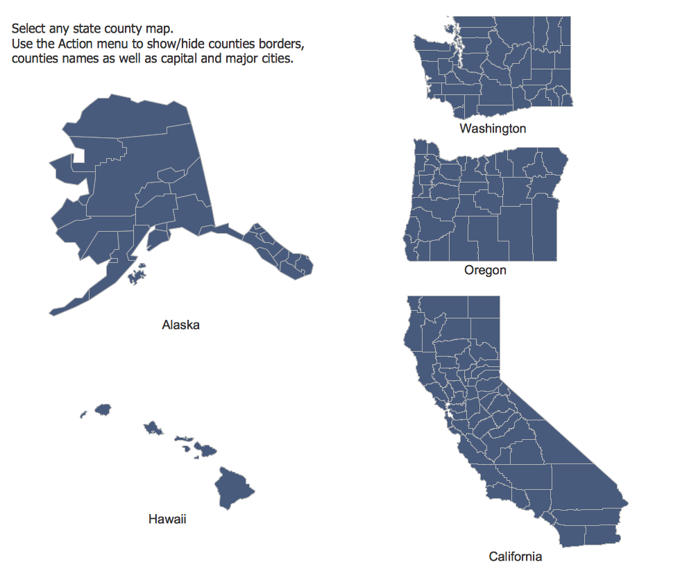 USA Maps. Design Elements — Pacific States | Maps   USA Maps