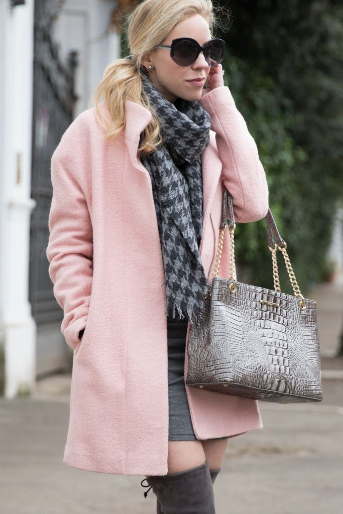 Express pink cocoon coat pink coat winter outfit J. Crew gray