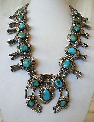 $ BIG Vintage NAVAJO Deep Blue TURQUOISE Sterling Squash Blossom NECKLACE 327g