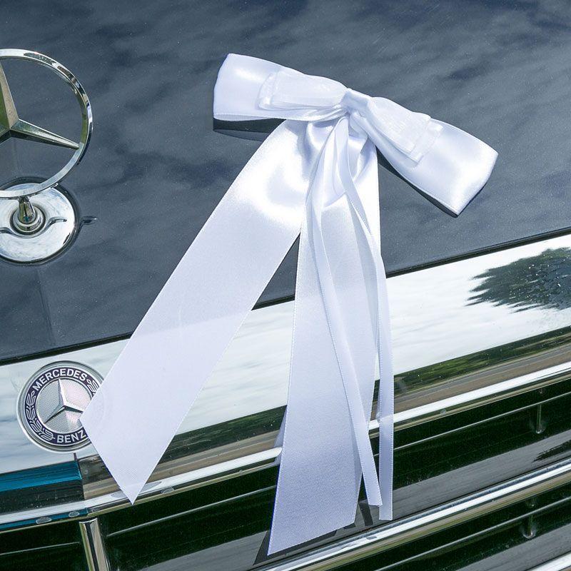 Autoschmuck zur Hochzeit, Schleife aus Satin in weiß