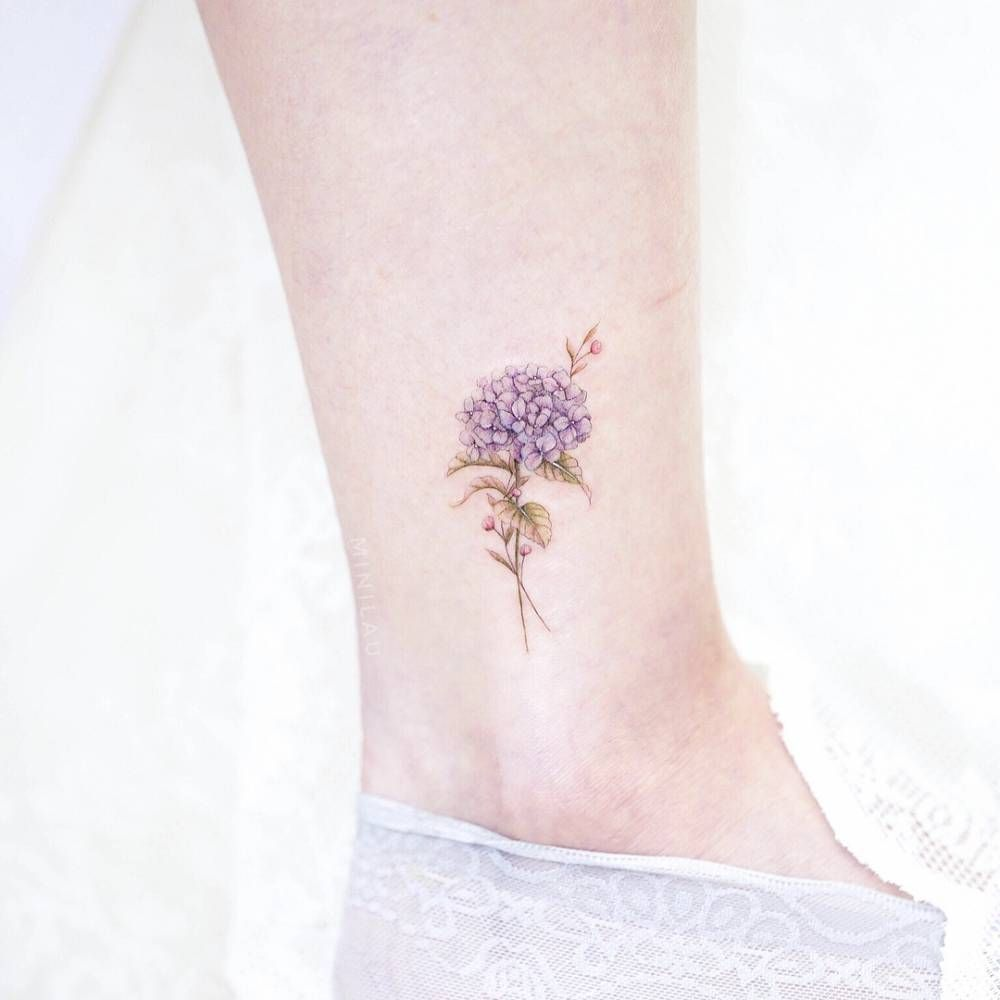 Hydrangea Tattoo On The Ankle Hydrangea Tattoo Small Tattoos Tattoos