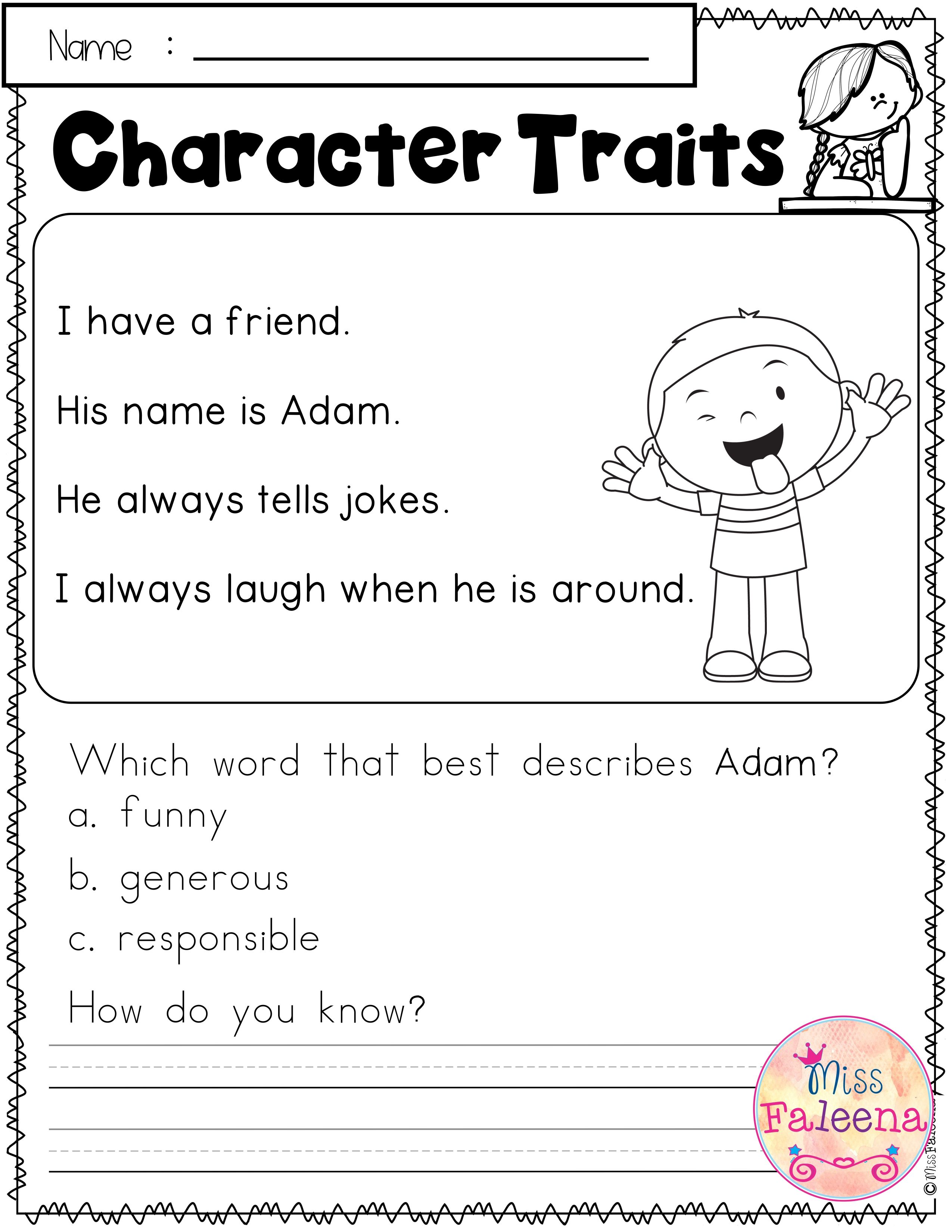 Prove It To Me Character Traits Help Your Students Use Evidence From The Text To Prove Th Character Trait Worksheets Character Trait Passages 2nd Grade Writing