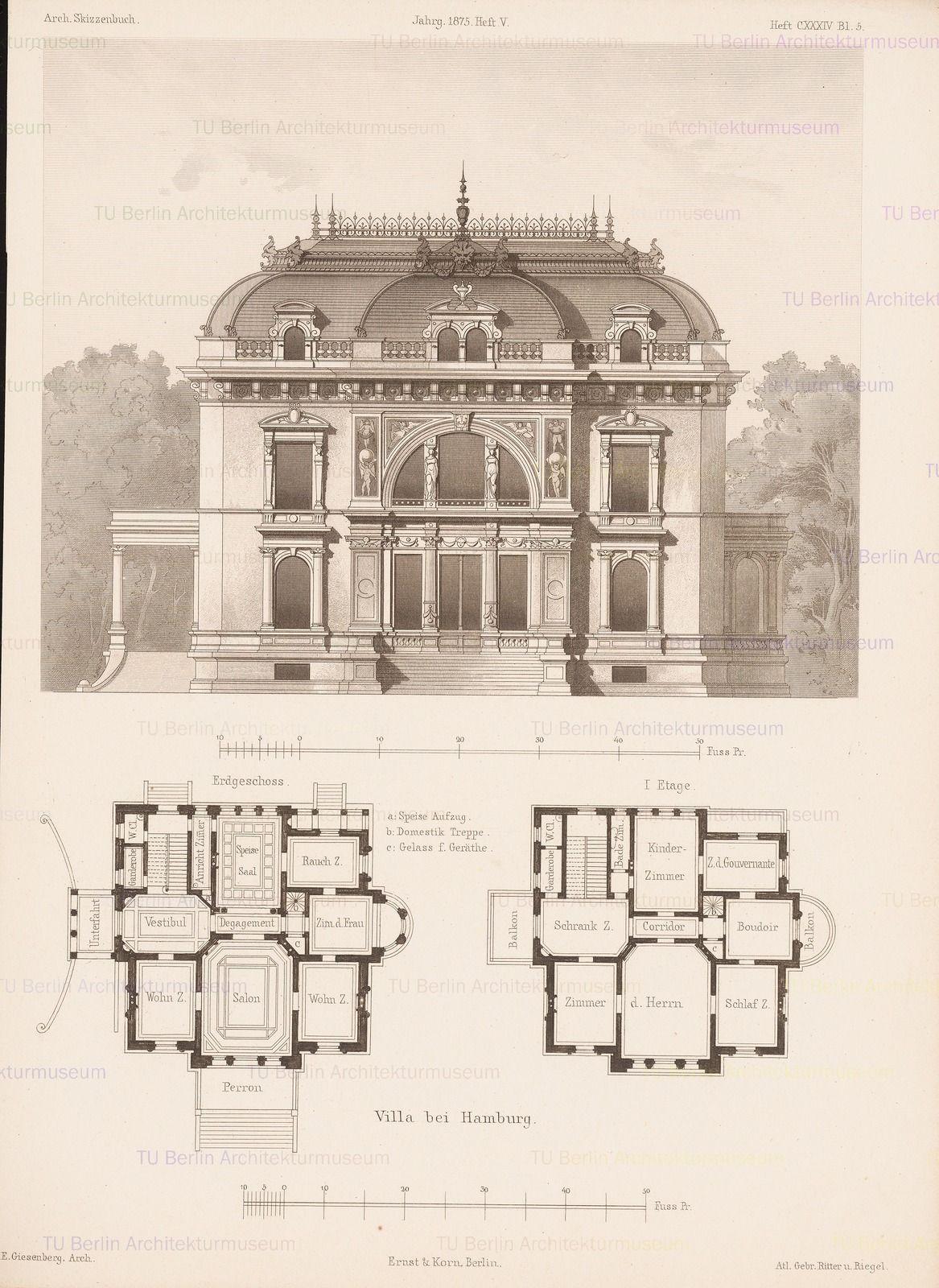 Villa Hamburg Aus Architektonisches Skizzenbuch H 134 5 1875