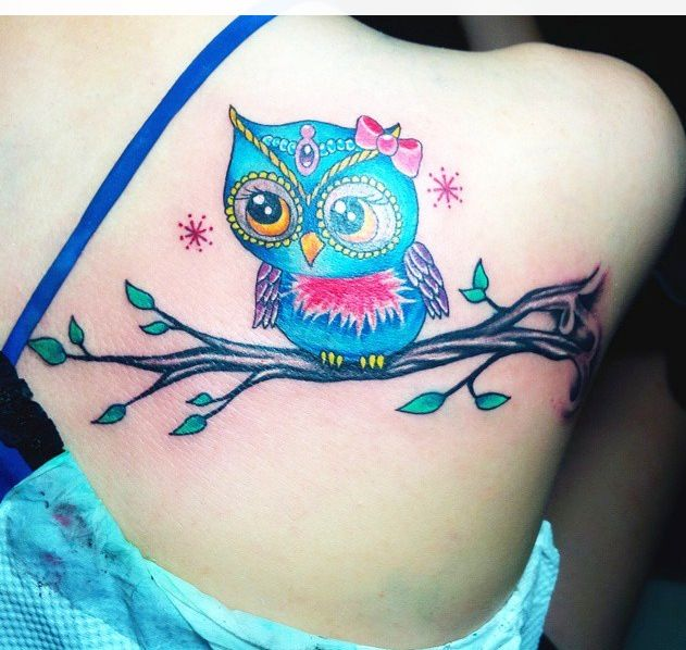 The Colors Are Pretty And I Like This Branch Kinda Need A Branch But Smaller Baby Owl Tattoos Owl Tattoo Cute Owl Tattoo