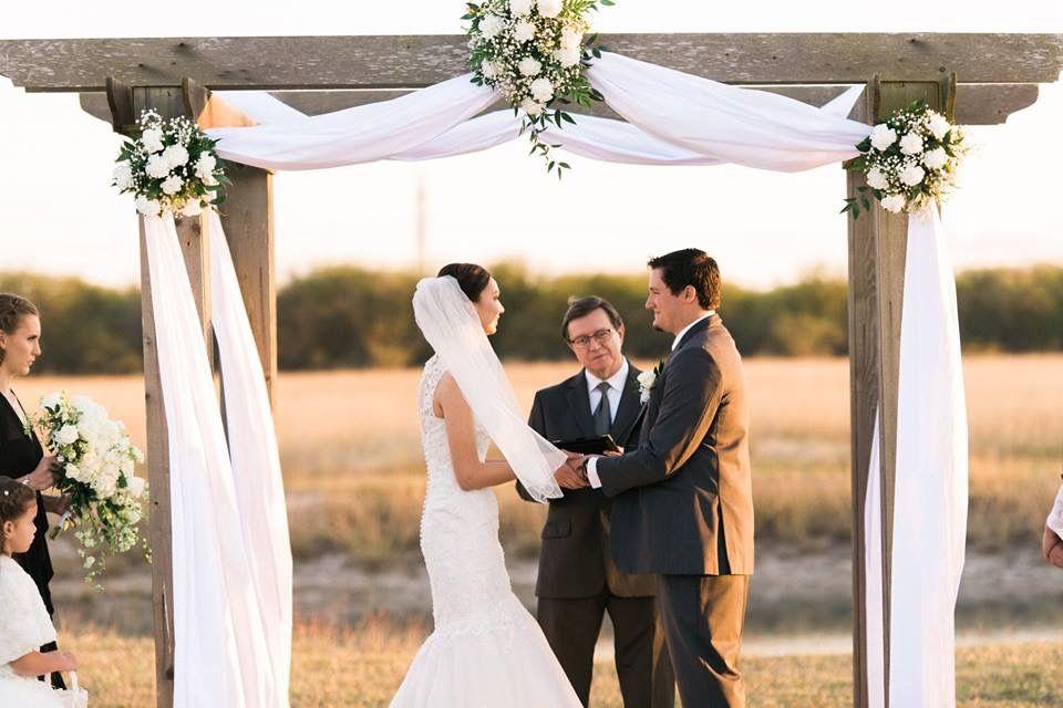 Wedding at arch. White wedding flower's.