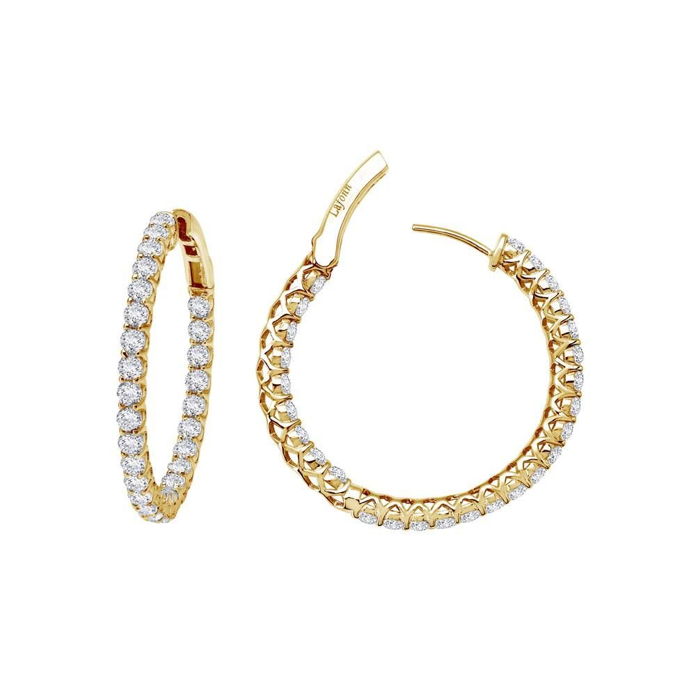 b7379f6c6 Lafonn Classic Sterling Silver Gold Plated Simulated Diamond Earrings (2  CTTW)