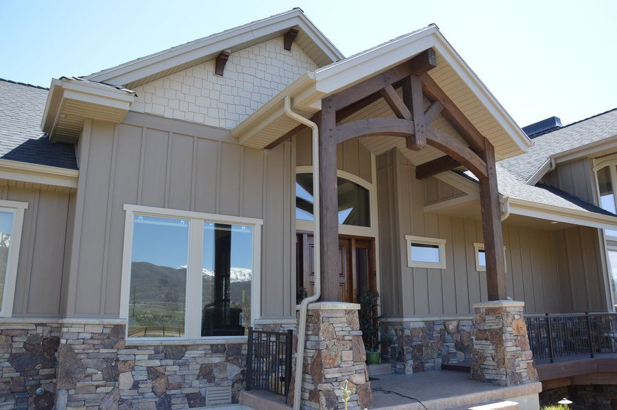 Midway Utah Hardie Siding Staggered Shake Board Batten Aluminum Soffit And Fascia Cottage Exterior Lake Houses Exterior Exterior House Colors