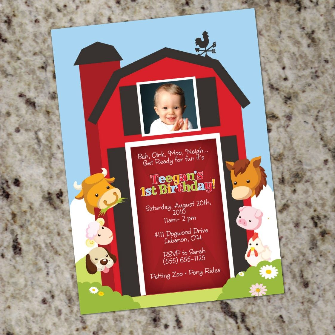 Farm Animal Invitation - Printable Design - Barnyard Birthday ...
