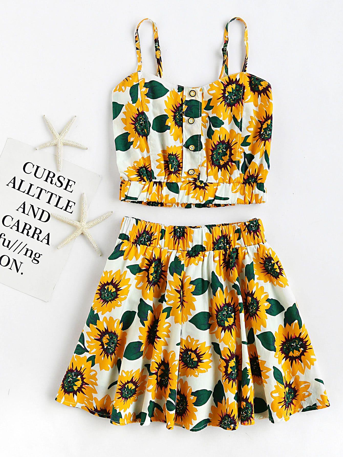 efc735e4102 Shop Sunflower Print Random Crop Cami Top With Skirt online. SheIn offers Sunflower  Print Random Crop Cami Top With Skirt   more to fit your fashionable ...