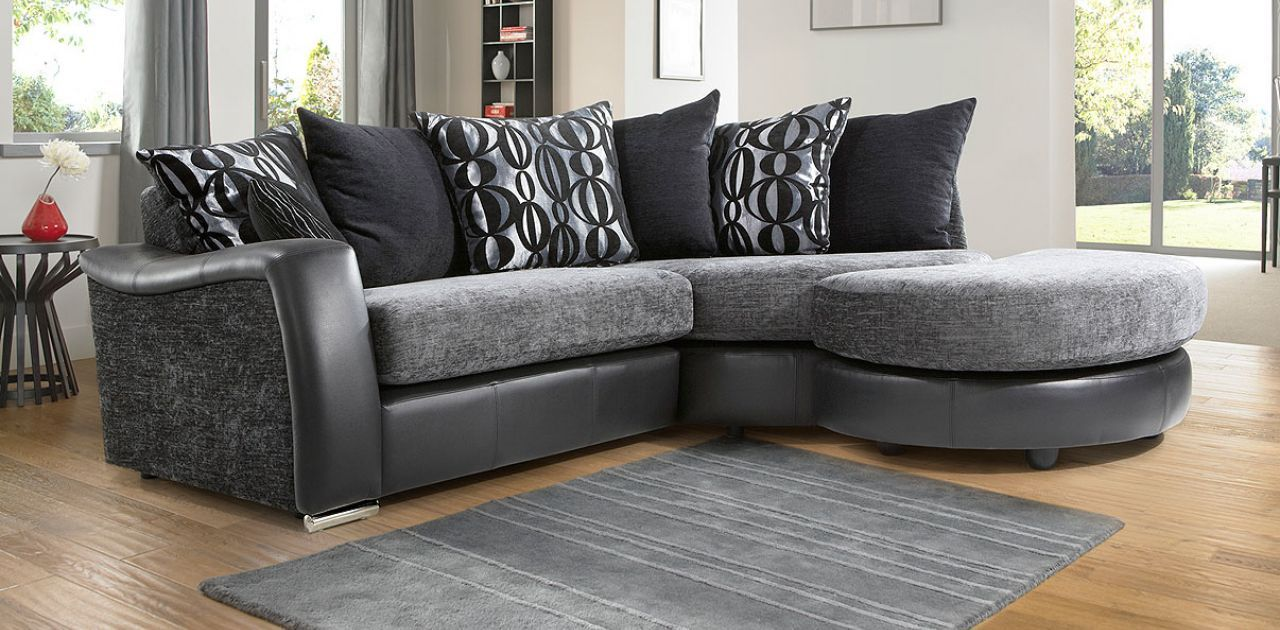 Leather Fabric Small Corner Sofa Shown With Optional Footstool Small Corner Sofa Corner Sofa Fabric Sofa
