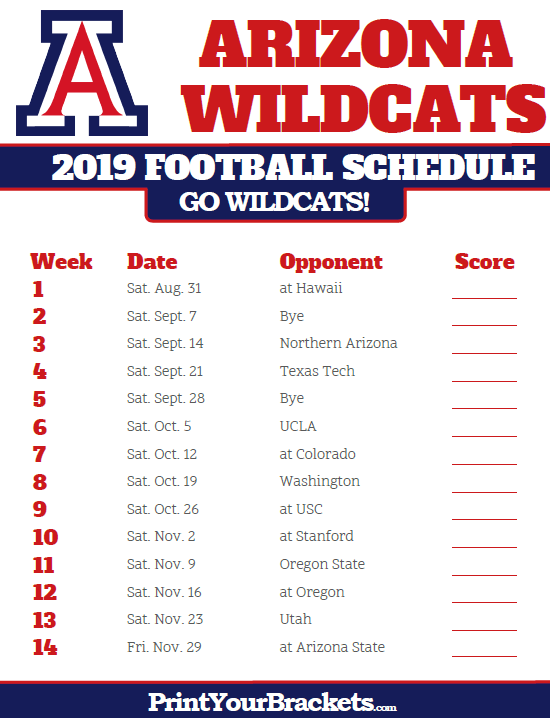 image relating to Ohio State Football Schedule Printable referred to as 2019 Arizona Wildcats Soccer Routine Printable School